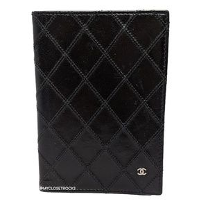 Chanel Black Leather Passport Cover